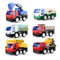 儿童工程车回力小汽车套装组合玩具惯性车搅拌车挖掘机男孩2.3岁