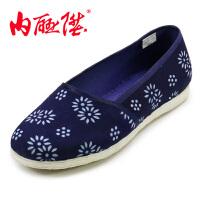 内联升春夏女鞋老字号北京布鞋手工千层底蜡染接头方口布鞋8630A
