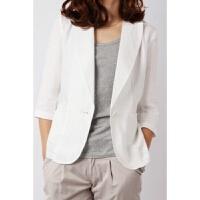 2018新款韩版夏季棉麻小西装女亚麻七分袖修身一粒扣西服薄款外套女装加大码