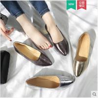 单鞋女春季新款韩版尖头平底浅口一脚蹬懒人鞋瓢鞋学生女鞋潮