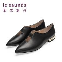 莱尔斯丹 英伦小皮鞋尖头低跟浅口女鞋单鞋 9M14802