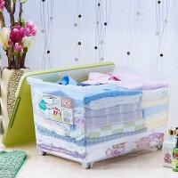 茶花塑料收纳箱 酷立方收纳箱 整理箱储物箱大号杂物箱透明衣物整理盒带盖滑轮