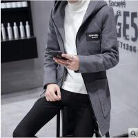 新款时尚韩版修身呢子外套新款风衣男士中长款加厚冬天毛呢大衣