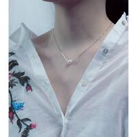 珍珠项链女单颗925纯银颈链锁骨链气质简约日韩百搭配饰潮