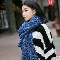 围巾女纯色毛线粗甜美可爱韩版针织学生百搭长款粗线加厚保暖加长