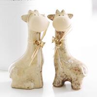 小鹿陶瓷摆件家居饰品 窑变釉精品情侣新婚礼物 欧式创意工艺品