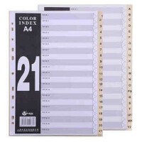 富得快分页纸FD2100数字/字母A4PP索引纸21页分页纸隔页纸胶质分类卡