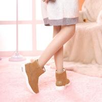 camel骆驼2018秋冬季新款厚底雪地靴保暖加绒运动增高绒面加厚短靴子女