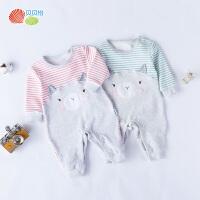 贝贝怡婴儿衣服长袖连体衣秋装新款卡通印花拼接哈衣183L160