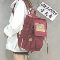 帆布韩版双肩包电脑包男背包学院风大学生书包女休闲大容量旅行包