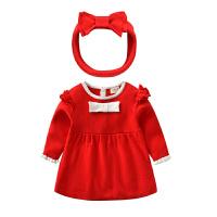 女童连衣裙秋宝宝公主裙洋气红色毛衣裙婴幼儿外出周岁礼服裙子 红色 双层毛衣裙