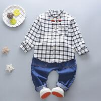 百槿 2018春季男童格子领结衬衫牛仔裤两件套 1-4岁身高70-112衬衫长裤套装