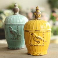 美式乡村家居饰品陶瓷装饰品摆件复古彩釉小鸟陶瓷储物罐