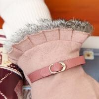 时尚羊毛手套女秋冬季韩版兔毛触摸屏女士保暖加绒加厚分指手套