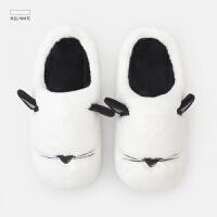 冬季棉拖鞋女新款居家室内毛绒拖鞋 情侣家用拖鞋 米白 (备注)