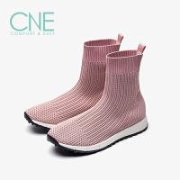 CNE2019秋冬款圆头平底弹力运动高帮袜子鞋袜靴女短靴9T33502