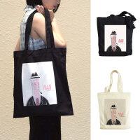 帆布包女单肩布袋子欧美卡通插画便携环保袋折叠购物袋
