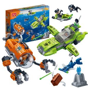 【当当自营】【当当自营】邦宝益智拼装积木玩具塑料381小颗粒拼插5岁男孩玩具礼物 黑鲨来袭7406