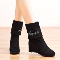 冬季水钻过膝长靴弹力绒布靴坡跟女靴子高筒平底长筒靴内增高女鞋