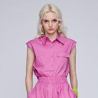 dzzit地素 2019夏装新款无袖露背单排扣气质休闲衬衫女3G2C1011G