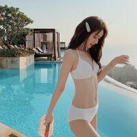 女士泳衣三件套时尚性感蕾丝白色遮肚显瘦仙女范小香风海边度假比基尼