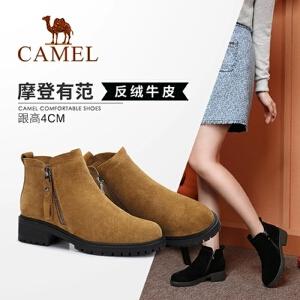 Camel/骆驼女鞋 2018冬季新品时尚简约舒适保暖靴子方跟拉链靴子