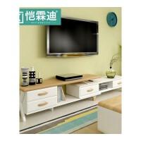 客厅家具电视机柜简约现代伸缩地中海茶几组合实木小户型电视柜 仿古白(2050-2900)*350*430 组装