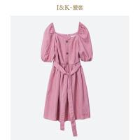 【秒杀价:63元】爱客2019夏季法式纯色低领宽松高腰小个子显瘦连衣裙