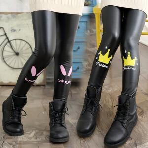百槿 冬季女童加绒加厚打底皮裤