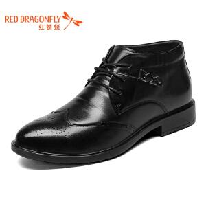 红蜻蜓男鞋 新款时尚布洛克复古圆头系带长毛绒皮鞋