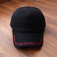 新款秋冬天帽子女士羊毛呢帽纯色字母棒球帽加厚保暖网红帽潮 可调节