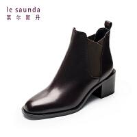 【全场3折】莱尔斯丹 商场同款中粗跟切尔西靴加绒保暖短靴9T58801