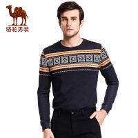 骆驼&熊猫联名系列男装 青年时尚套头直筒青春流行几何长袖卫衣男