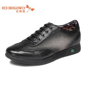 红蜻蜓男鞋2017新款正品日常休闲板鞋舒适透气改色功能鞋皮鞋