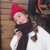 冬季韩版软糯纯色舒适粗毛线针织保暖围巾学生男女情侣围脖学生款