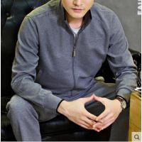 时尚休闲商务运动 长袖长裤棉质休闲运动套装 男士开衫立领运动服 大码商务装