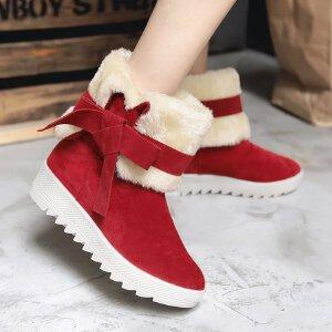 2017新款雪地靴女中筒靴秋冬季雪地棉鞋真皮女鞋磨砂靴冬靴加厚女靴子