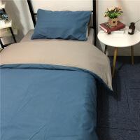 纯色床单三件套学生宿舍单人酒店宾馆公司职员工铁床上下铺四件套