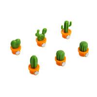 仙人掌冰箱贴6个装创意可爱卡通磁贴冰箱磁铁装饰留言帖家居日用家装软饰 橙 绿 小