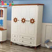 地中海三门衣柜板式衣柜美式田园实木两门衣柜小户型衣橱