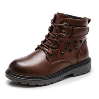 儿童马丁靴秋冬男童靴子加绒中大童棉靴男孩短靴子