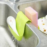 普润(PU RUN) 卡位式厨卫水槽沥水收纳挂架免打孔水槽水龙头壁挂袋厨房海绵洗碗布置物挂架 绿色