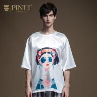 PINLI品立2020夏季新款男装印花圆领宽松短袖T恤男上衣B202311155