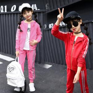 童装2019春秋季新款女童拉条套装中大童韩版上衣+长裤两件套
