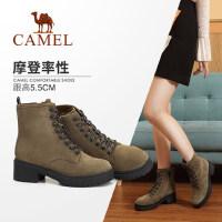 骆驼女鞋冬季新款马丁靴 简约时尚韩版百搭靴子粗跟系带女靴