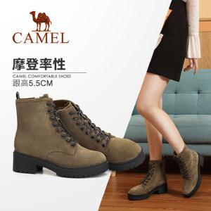 骆驼女鞋2018冬季新款马丁靴 简约时尚韩版百搭靴子粗跟系带女靴