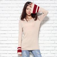 春季新款女士V领纯山羊绒衫休闲短款长袖针织套头毛衣喇叭袖
