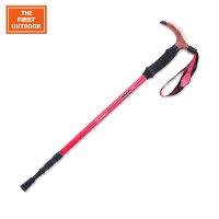【满299减200】美国第一户外 合金登山杖 多功能超轻便携伸缩徒步手杖防滑头