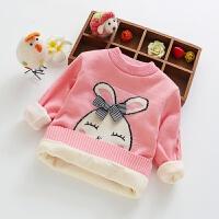 童装装2017新款韩版宝宝女童加厚加绒套头弹力毛衣儿童针织衫 粉红色 小兔子