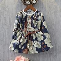 女童长袖连衣裙儿童2017季新款韩版碎花宝宝装公主裙子秋款